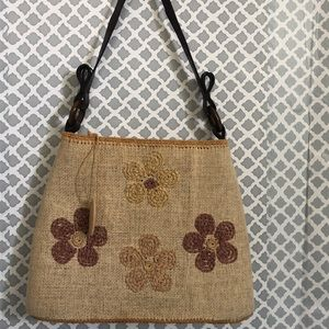 Straw Studios neutral tan floral shoulder tote bag